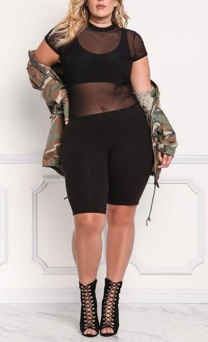 High Waist Biker Shorts in 2020 | Plus size concert outfits .