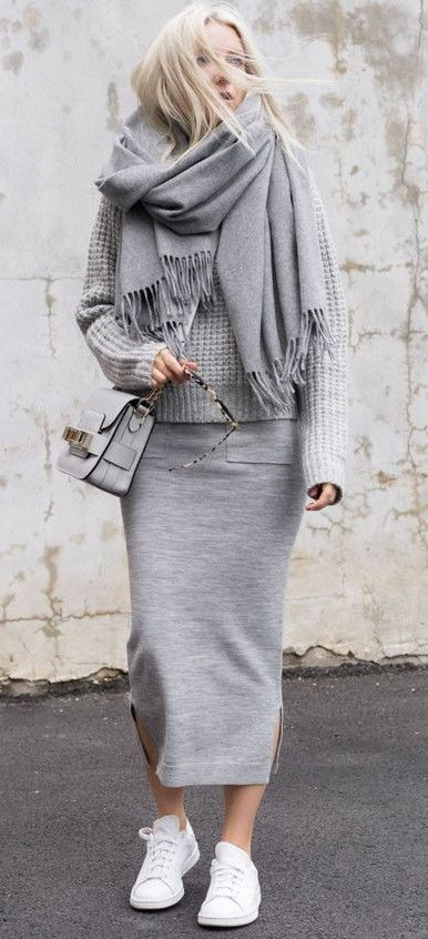 all grey. street style. everyday outfit. knit. midi skirt .