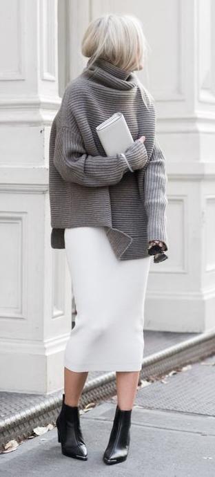 turtle neck knit. pencil midi skirt. | Fashion, Style, Winter .