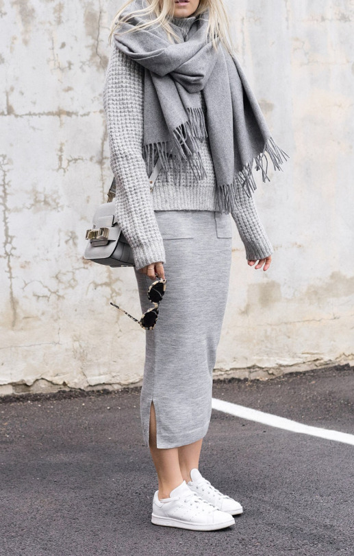 Grey Knitwear, Grey Layers, Grey Outfits... Grey Is A Trend - Just .