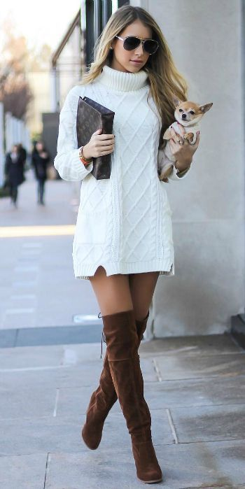 40+ Knit Dress Street Style Outfits Ideas 15 | Sweater dress .