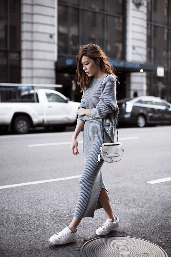 19 outfit ideas to wear your knit dresses - Grijze mode, Gebreide .