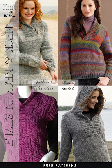 Knit Shawl Collar Pullovers - men's and women's free patterns .