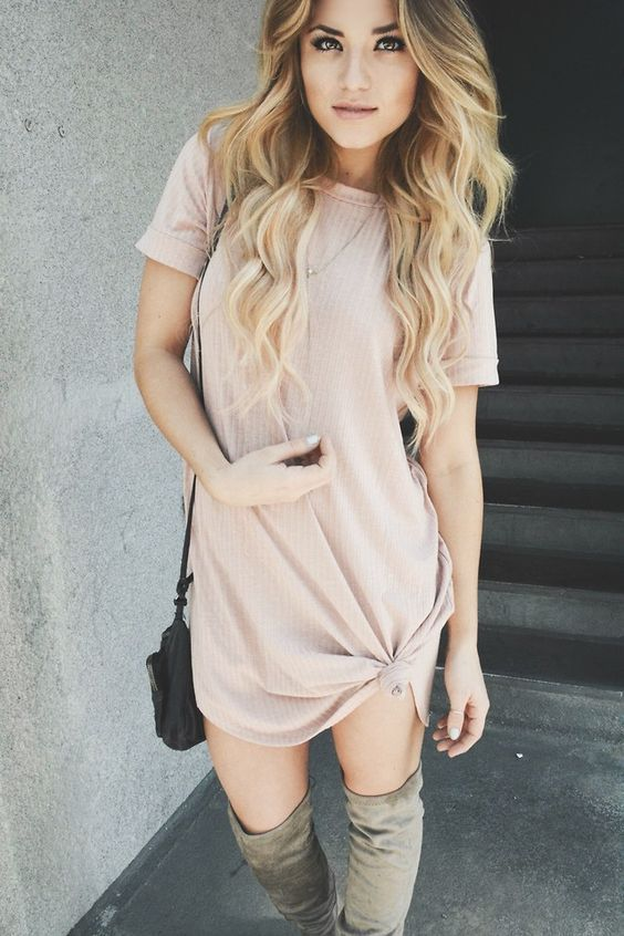 shirt dress and over the knee boots | Fashion, Pink t shirt dress .