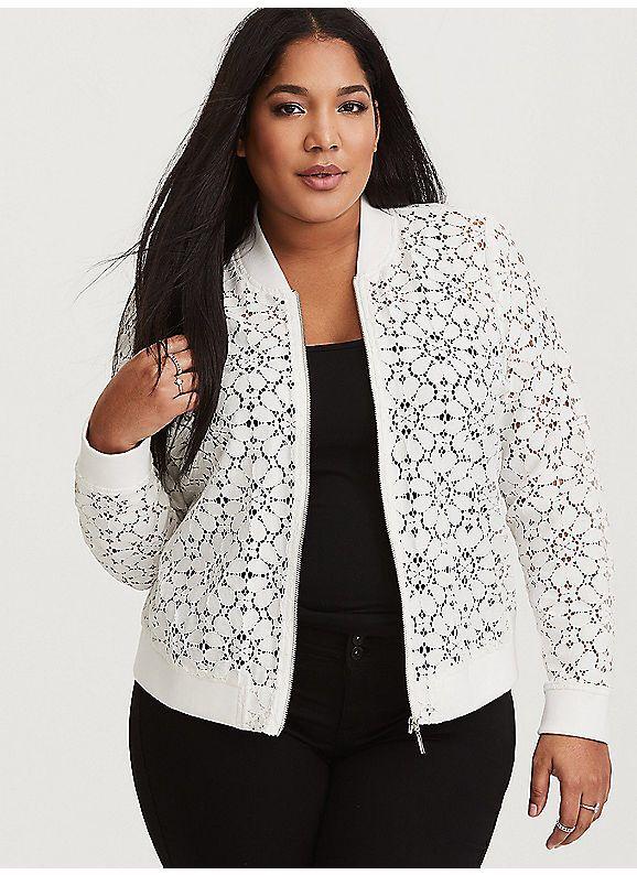 TORRID : White Sheer Lace Bomber Jacket | Lace bomber jacket, Lace .