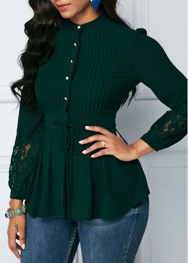 Crinkle Chest Dark Green Lace Panel Peplum Blouse | liligal.com .