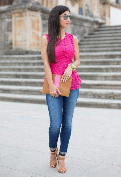 9.13 neon pink lace (Lookbook Store pink lace peplum top + J Brand .