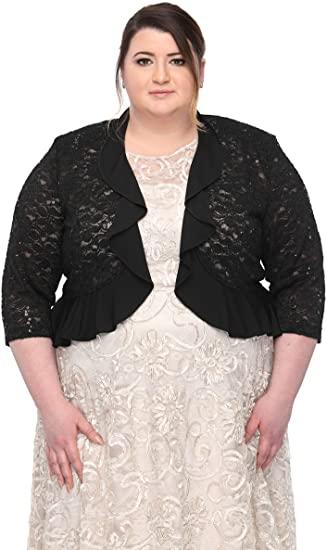 SLEEKTRENDS Plus Size Cardigan Bolero Jackets for Women | Ruffled .