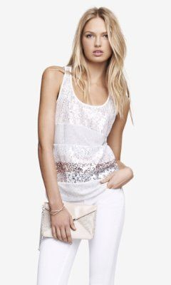 fashion idea / lace sequin tank top and white jeans / #outfit idea .
