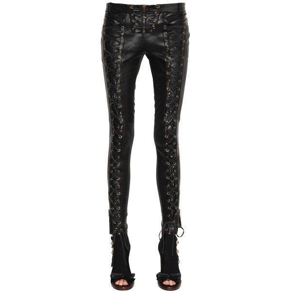 Redemption Women Lace-up Skinny Leather Pants ($3,095) ❤ liked on .