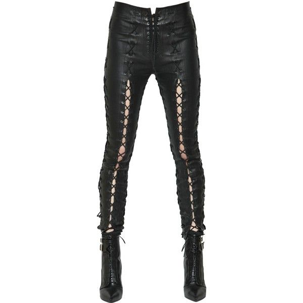 Unravel Women Skinny Lace-up Stretch Leather Pants ($2,495 .
