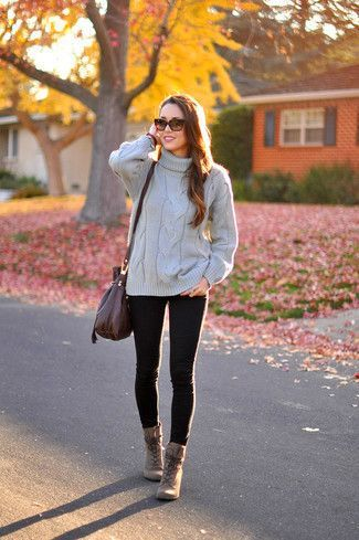 How to Wear Brown Leather Lace-up Ankle Boots   Women's Fashion .