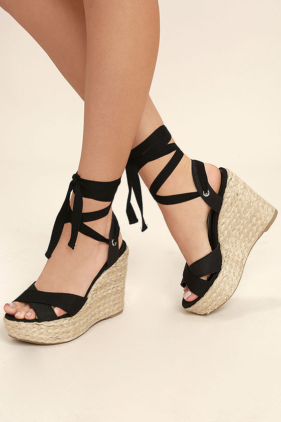 Esme Black Lace-Up Espadrille Wedges | Lace up espadrille wedges .