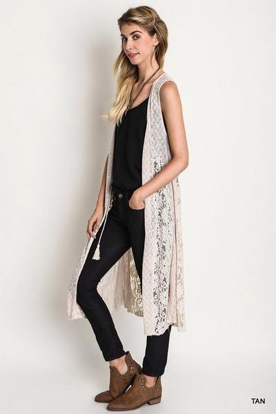 Front Tie long Lace and Knit Vest. | Crochet vest outfit, Lace .