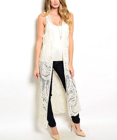 Another great find on #zulily! Beige Lace Sleeveless Open Duster .