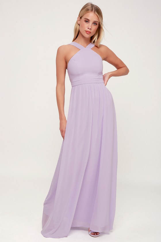 Beautiful Lavender Dress - Purple Maxi Dress - Halter Dre