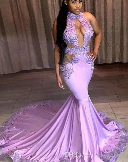 Purple Mermaid Sexy Prom Dresses 2019 Backless Halter Modest Lace .