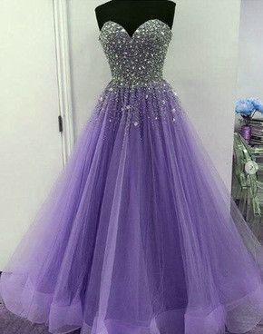 Lavender Tulle Sparkle Beaded Sweetheart Junior Prom Dress 2018 .