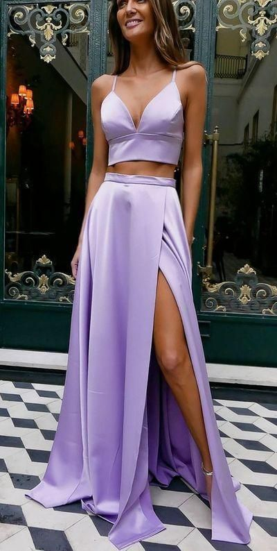 Plus Size Prom Dresses, Two Piece Bowknot Back Violet Long Prom .