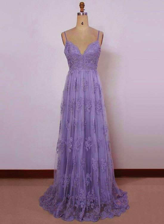 Beautiful Light Purple Straps with Lace Elegant Party Dress, Tulle .