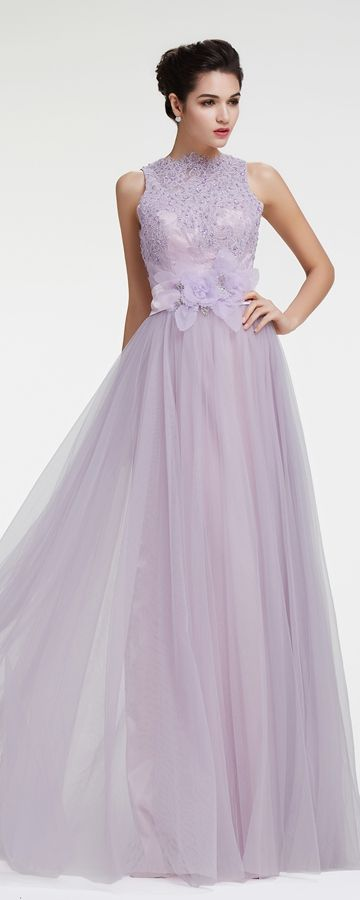Dusty Lavender Modest Lace Prom Dresses | Modest lace prom dresses .