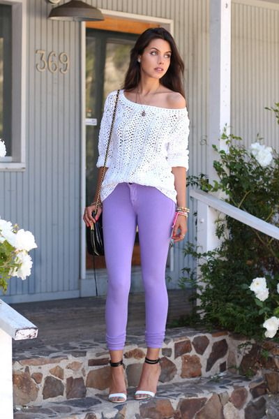 Purple jeans comfy white sweater | Purple outfits, Purple jeans outf