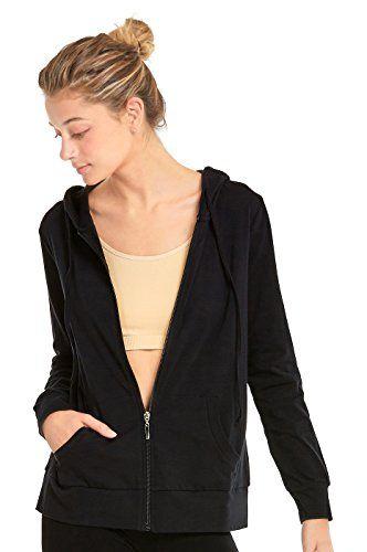 Teejoy Women's Thin Cotton Zip Up Hoodie Jacket (L, Black .