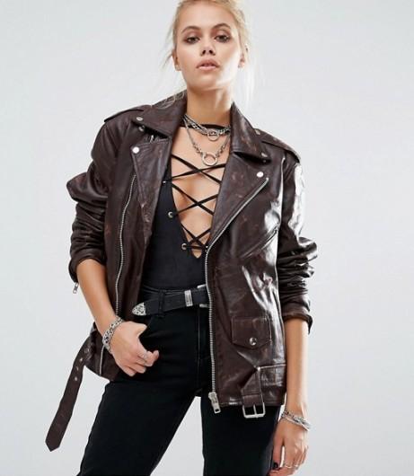 Brown Leather Biker Jacket Womens in Asymmetric
