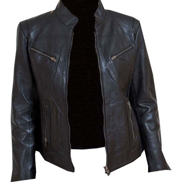 Eye-catching black leather biker jacket for Ladies - Leather .