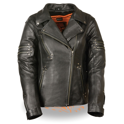 Ultra Soft Women's Leather Biker Jacket (Milwaukee Leathe