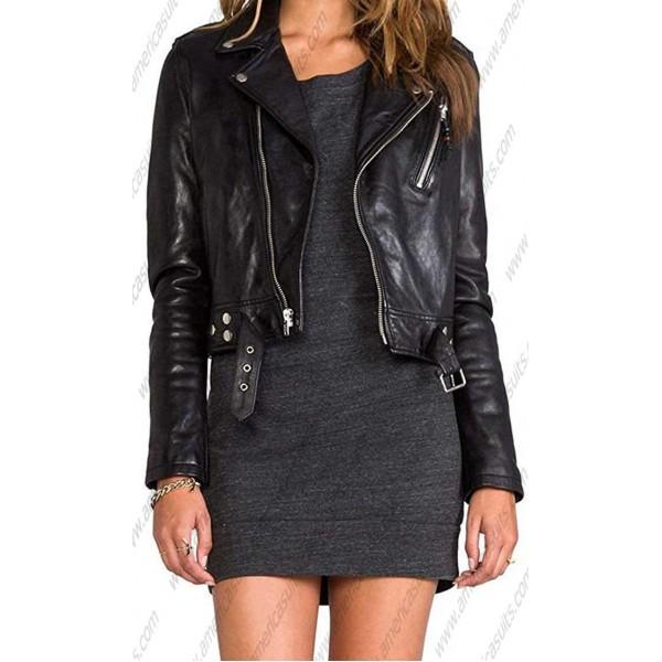 Womens Lambskin Leather Black Biker Jacket | americasuits.c