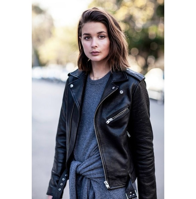 Women Black Leather Moto Jacket, Womens Fashion Black | RebelsMark