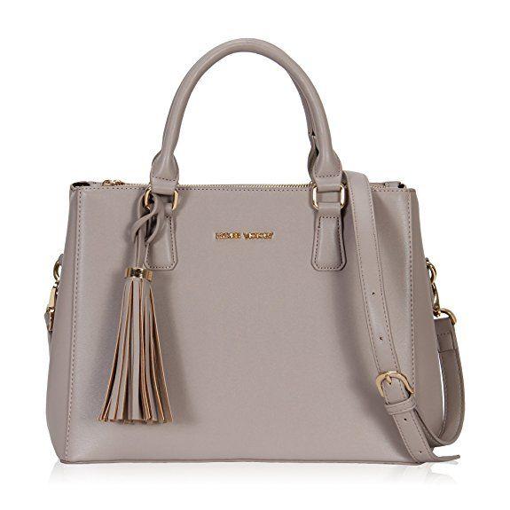 Hynes Victory Womens Classy Satchel Handbag Griege with tassel .