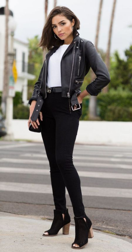 30 Great Leather Outfit Ideas for Ladies | Biker jacket outfit .