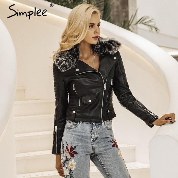 Buy fur collar basic jacket coat outerwear coats Streetwear black .
