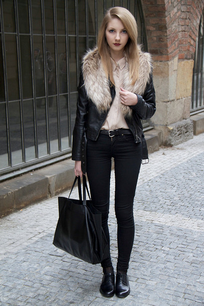 jacket, fur collar jacket, black jacket, leather jacket, black .
