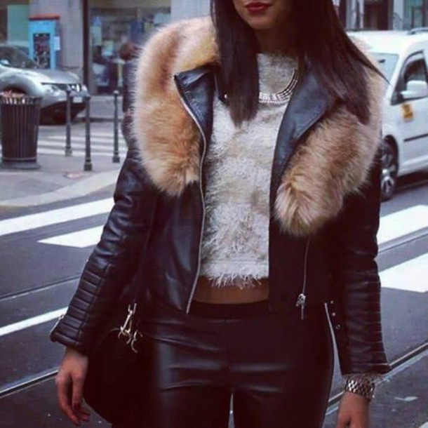 jacket, jacket, clothes, fur, leather, leather jacket, fur collar .