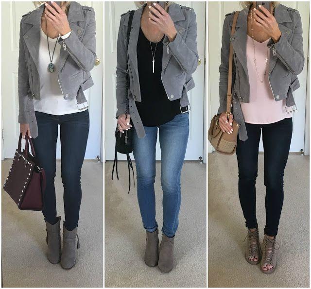 Three Ways to Wear: Grey Suede Moto Jacket in 2020 | Leather .