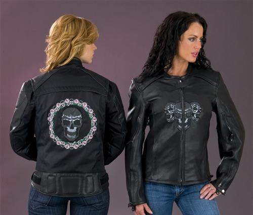 Women's Leather Motorcycle Jacket - Reflective Skulls - Leather .