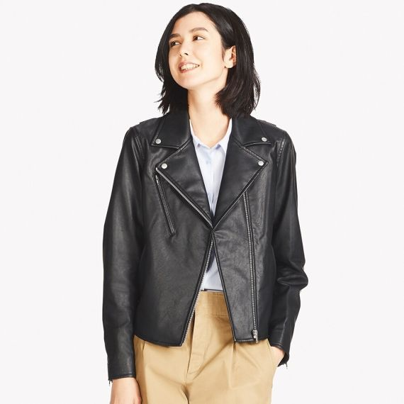 WOMEN Synthetic Leather Riders Jacket - Jackets & Coats .