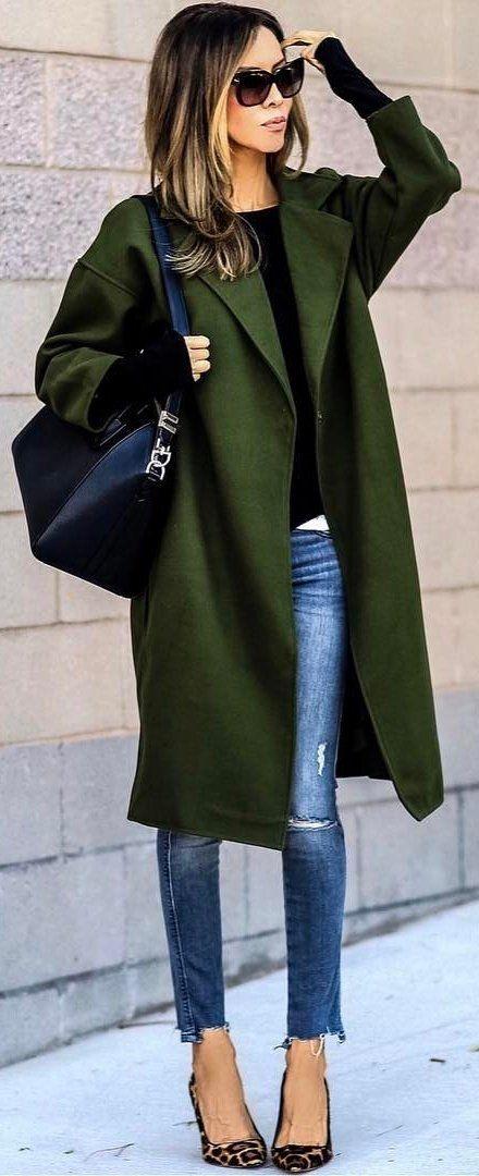 winter #fashion / Green Coat / Bleached Skinny Jeans / Leopard .