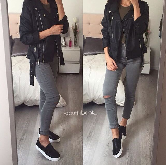 Slip on black sneakers, gray skinnies and black leather jacket .