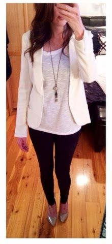 Winter white blazer. | Fall outfits for work, Work outfit, Winter .