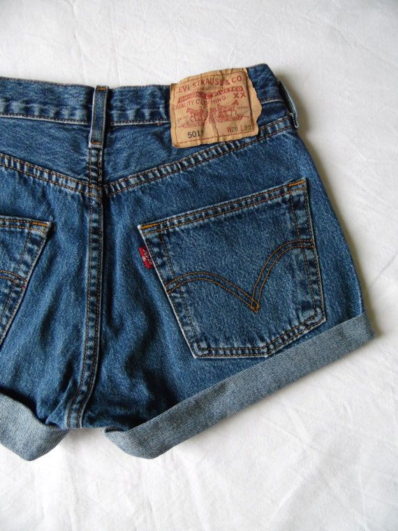 High waisted shorts vintage Levis 501 blue denim by FrayedWithLove .