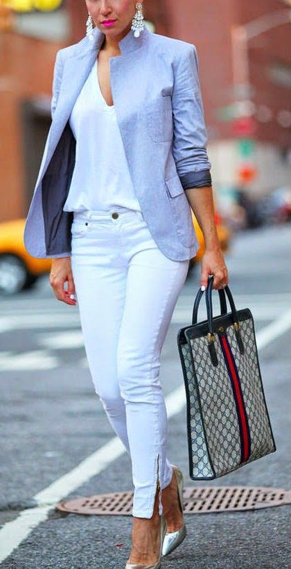 All white, light blue jacket business casual | Womens white jeans .