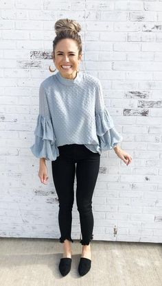 56 Best Light blue blouse images | Clothes, Fashion, Casual outfi