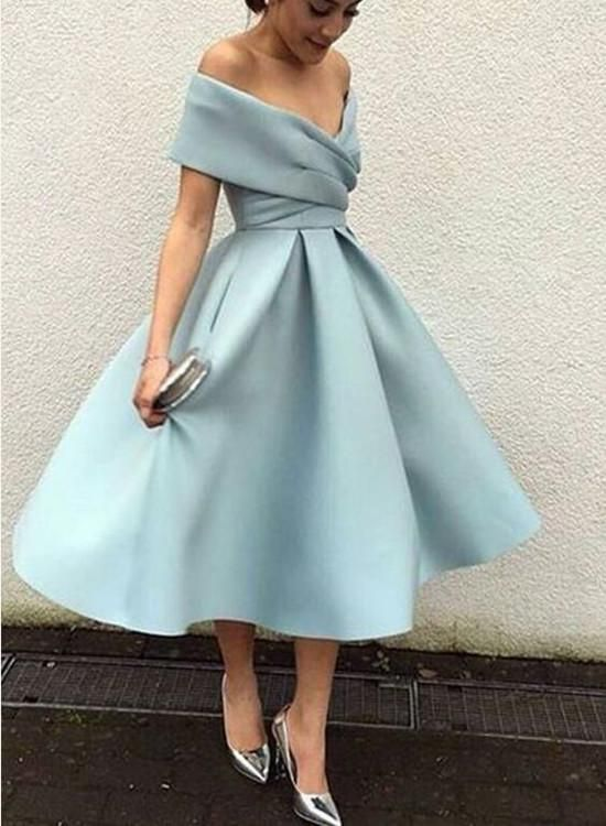 Off Shoulder Light Blue Tea Length Bridesmaid Dresses, Blue Party .