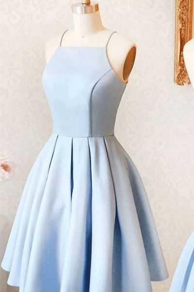 Charming Light Blue Mini Homecoming Dresses,Spaghetti Straps .