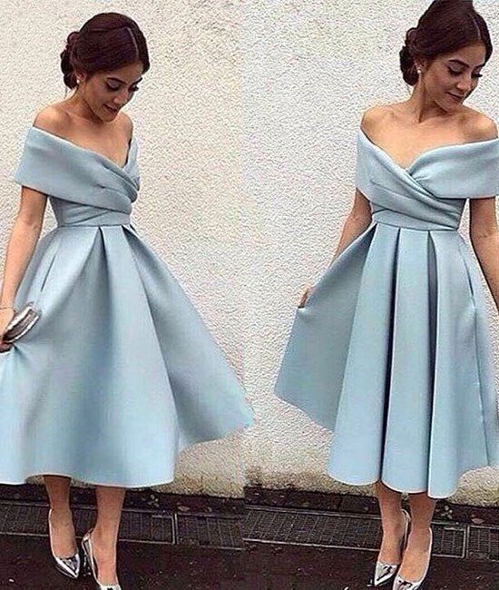 simple blue short prom dress, retro prom dresses, light blue .