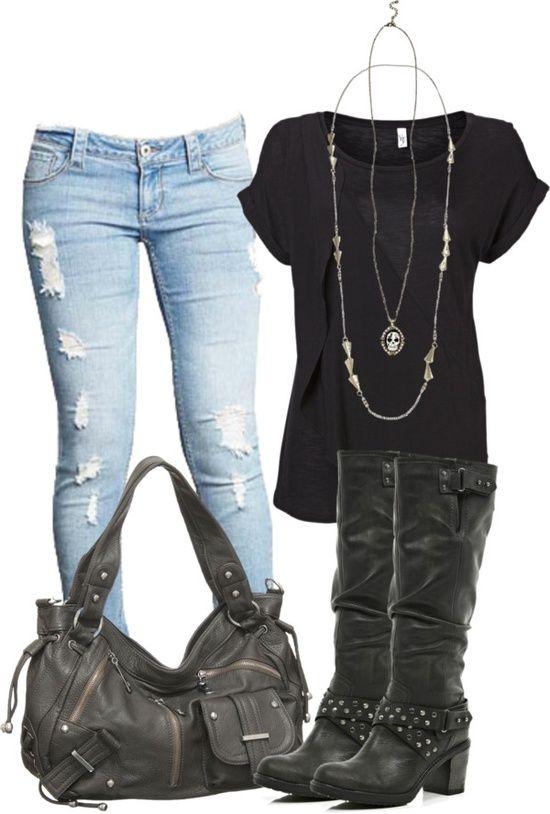 light blue jeans, black boots, black bag, black top, outfit .